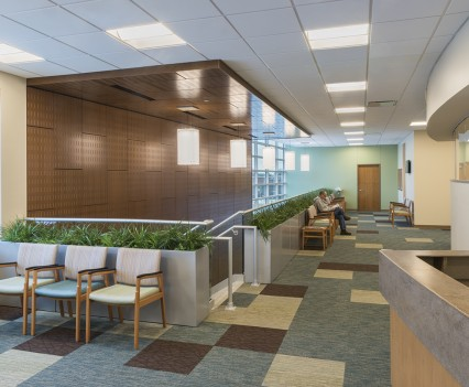 Healthcare Interior Design 2nd Floor Waiting Area - plants lined behind chairs for patients to wait in with splash of cheery blue along the wall and inner modern wooden walls look and modern fun checkered carpet