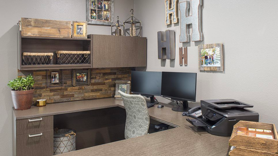 Home Office Workspace Interior Design - u shaped desk in light brown